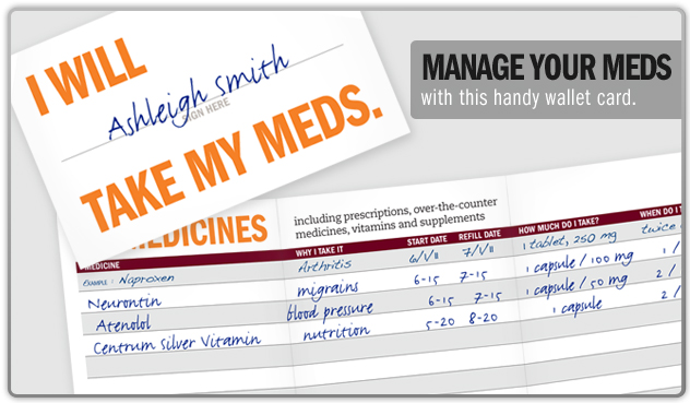 Manage your meds with this handy wallet card.